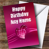 Electric Pink Heart Romantic Customised Birthday Card