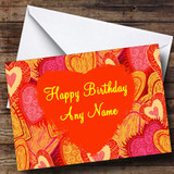 Orange And Pink Love Hearts Romantic Customised Birthday Card