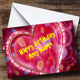 Pink Love Heart Romantic Customised Birthday Card