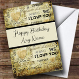 Stripe & I Love You Romantic Customised Birthday Card