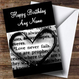 Heart Writing Love Script Romantic Customised Birthday Card