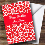 Red & Pink Hearts Romantic Customised Birthday Card