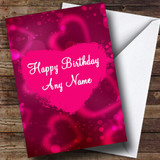 Hot Pink Love Heart Romantic Customised Birthday Card