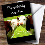 Cute Kissing Cows Romantic Customised Birthday Card