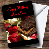 Chocolate & Roses Romantic Customised Birthday Card