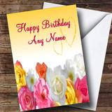 Yellow Flowers Romantic Customised Birthday Card