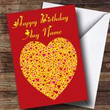 Yellow Heart Romantic Customised Birthday Card