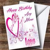 White And Pink Love Romantic Customised Birthday Card