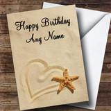 Love Heart Sand Romantic Customised Birthday Card