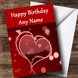 Red Love Heart Romantic Customised Birthday Card