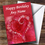 Red Flower Love Heart Romantic Customised Birthday Card