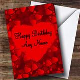 Red Love Hearts Romantic Customised Birthday Card
