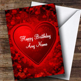 Red And Black Love Heart Romantic Customised Birthday Card