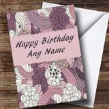 Purple & Pink Vintage Romantic Customised Birthday Card