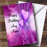 Purple Hearts Romantic Customised Birthday Card