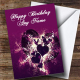 Purple Hearts And Swirls Romantic Customised Birthday Card