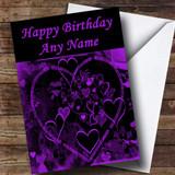 Purple And Black Love Heart Romantic Customised Birthday Card