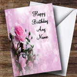 Pale Pretty Pink Rose Romantic Customised Birthday Card