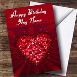 Pink And Red Love Hearts Romantic Customised Birthday Card