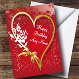 Heart And Bow Romantic Customised Birthday Card