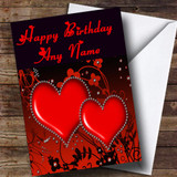 Red Diamond Heart Romantic Customised Birthday Card