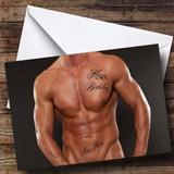 Sexy Mans Body Tattoo Customised Birthday Card
