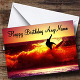 Surfing At Sunset Customised Birthday Card