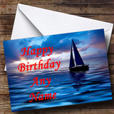 Sailing Boat At Sunset Customised Birthday Card