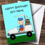 Golfer In Golf Cart Customised Birthday Card