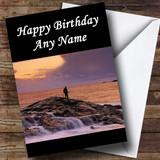 Fishing On Rock At Sea Customised Birthday Card