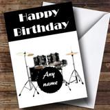 Drum Kit Drummer Customised Birthday Card