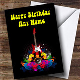 Retro Music Guitar Customised Birthday Card