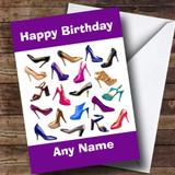 Girls Shoe Fetish Fan Customised Birthday Card