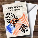 Military Boot Print & American Flag Customised Birthday Card