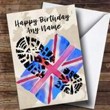 Military Boot Print & Union Jack UK Flag Customised Birthday Card