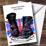 Military Boots & Union Jack UK Flag Customised Birthday Card
