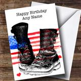 Military Boots & USA Flag Customised Birthday Card