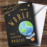 Customised World Hot Air Balloon Bon Voyage Travel Card