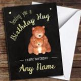 Cute Bear Hug Chalk Customised Birthday Card