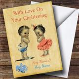 Twin Boy & Girl Customised Christening Card