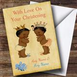 Twin Black Boy & Girl Customised Christening Card
