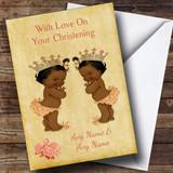 Twin Black Baby Girls Customised Christening Card