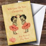 Twin Baby Girls Customised Christening Card
