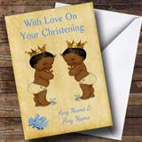 Twin Baby Black Boys Customised Christening Card