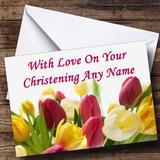 Tulips Customised Christening Card