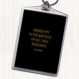 Black Gold Coco Chanel Simplicity Quote Keyring