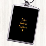 Black Gold Coffee Contour Confidence Quote Keyring