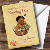 Pretty Vintage Black Baby Girl Customised Naming Day Card