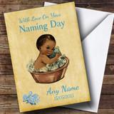 Pretty Vintage Black Baby Boy Customised Naming Day Card