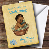 Pretty Vintage Black Baby Boy Customised Christening Card